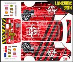 Red Biohazard Response themed vinyl SKIN Kit & Stickers To Fit Tamiya Lunchbox R/C Monster Truck